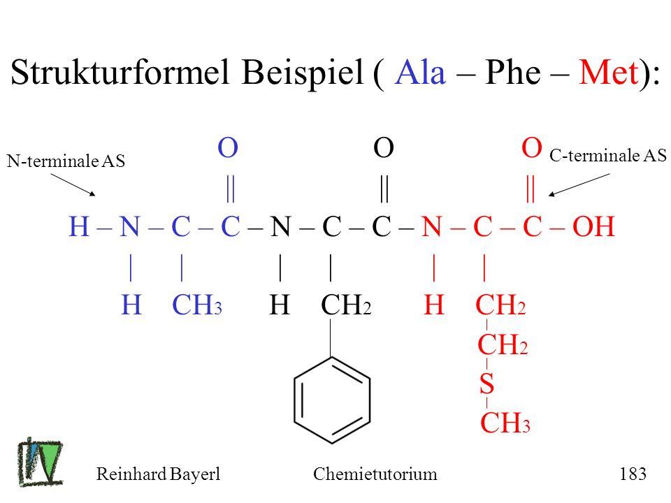 Reinhard BayerlChemietutorium183 O O O || || || H – N – C – C – N – C – C – N – C – C – OH | | | | | | H CH 3 H CH 2 H CH 2 CH 2 S CH 3 Strukturformel