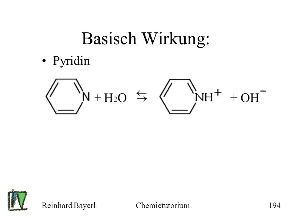 Reinhard BayerlChemietutorium194 Basisch Wirkung: Pyridin + H 2 O + OH
