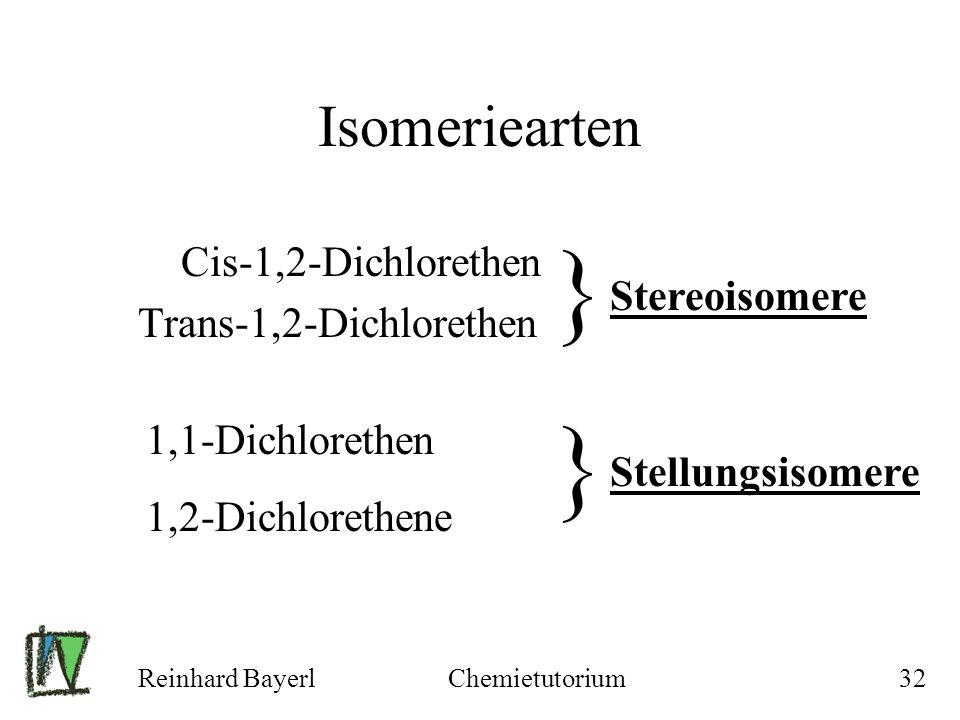 Reinhard BayerlChemietutorium32 Isomeriearten Cis-1,2-Dichlorethen Trans-1,2-Dichlorethen } Stereoisomere 1,1-Dichlorethen 1,2-Dichlorethene } Stellun