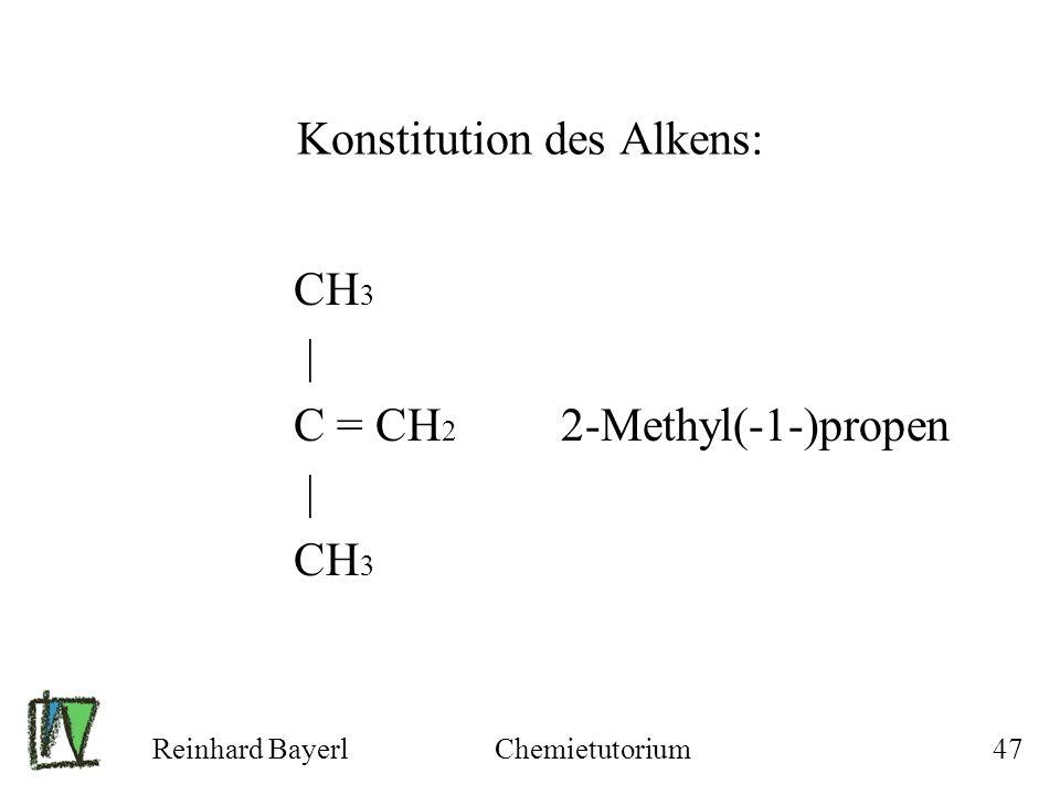 Reinhard BayerlChemietutorium47 Konstitution des Alkens: CH 3 | C = CH 2 2-Methyl(-1-)propen | CH 3