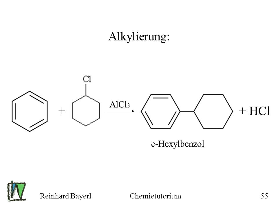 Reinhard BayerlChemietutorium55 Alkylierung: + AlCl 3 + HCl c-Hexylbenzol