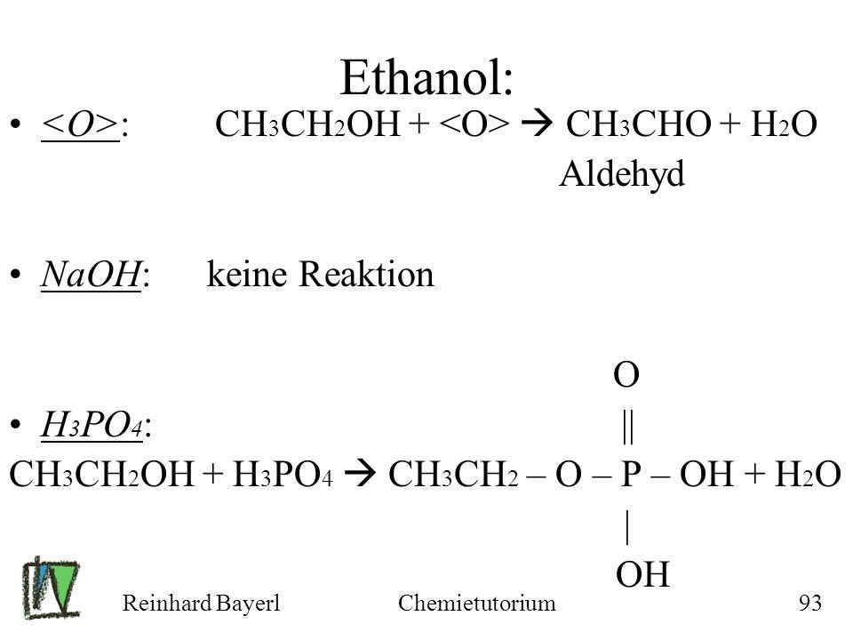 Reinhard BayerlChemietutorium93 Ethanol: : CH 3 CH 2 OH + CH 3 CHO + H 2 O Aldehyd NaOH: keine Reaktion O H 3 PO 4 : || CH 3 CH 2 OH + H 3 PO 4 CH 3 C