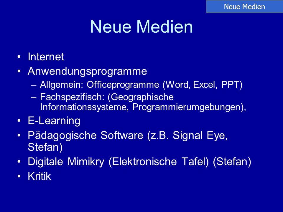 Neue Medien Internet Anwendungsprogramme –Allgemein: Officeprogramme (Word, Excel, PPT) –Fachspezifisch: (Geographische Informationssysteme, Programmi