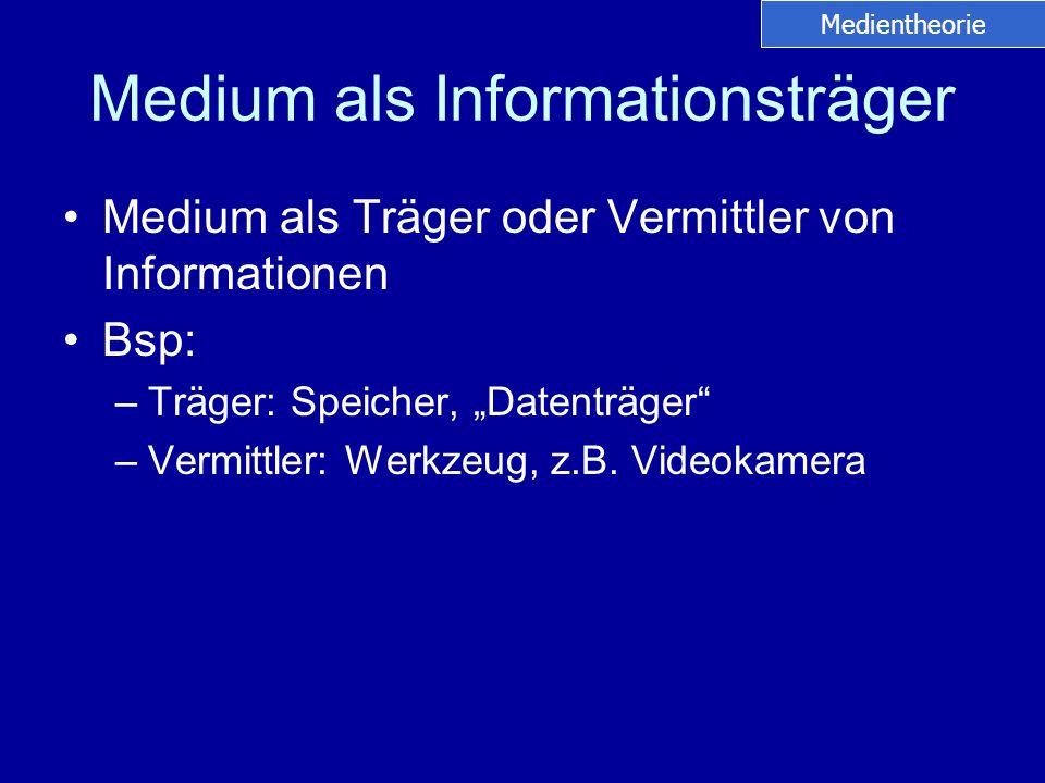 Medium als Informationsträger Medium als Träger oder Vermittler von Informationen Bsp: –Träger: Speicher, Datenträger –Vermittler: Werkzeug, z.B. Vide