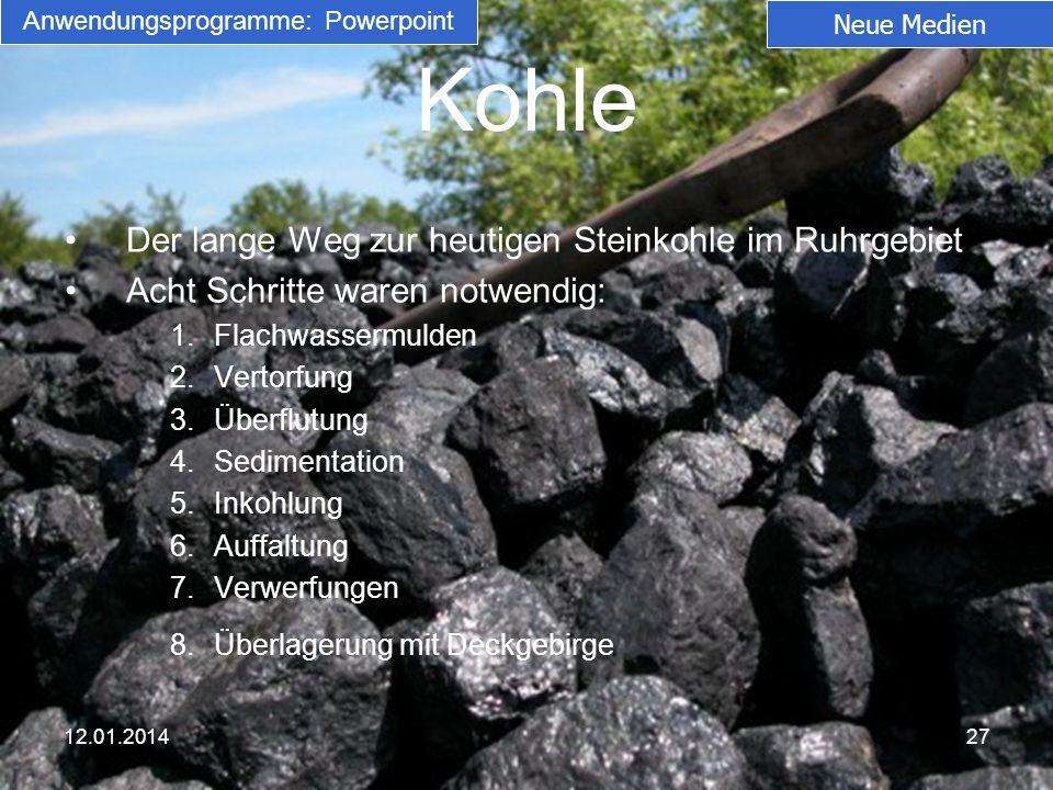Kohle Der lange Weg zur heutigen Steinkohle im Ruhrgebiet Acht Schritte waren notwendig: 1.Flachwassermulden 2.Vertorfung 3.Überflutung 4.Sedimentatio