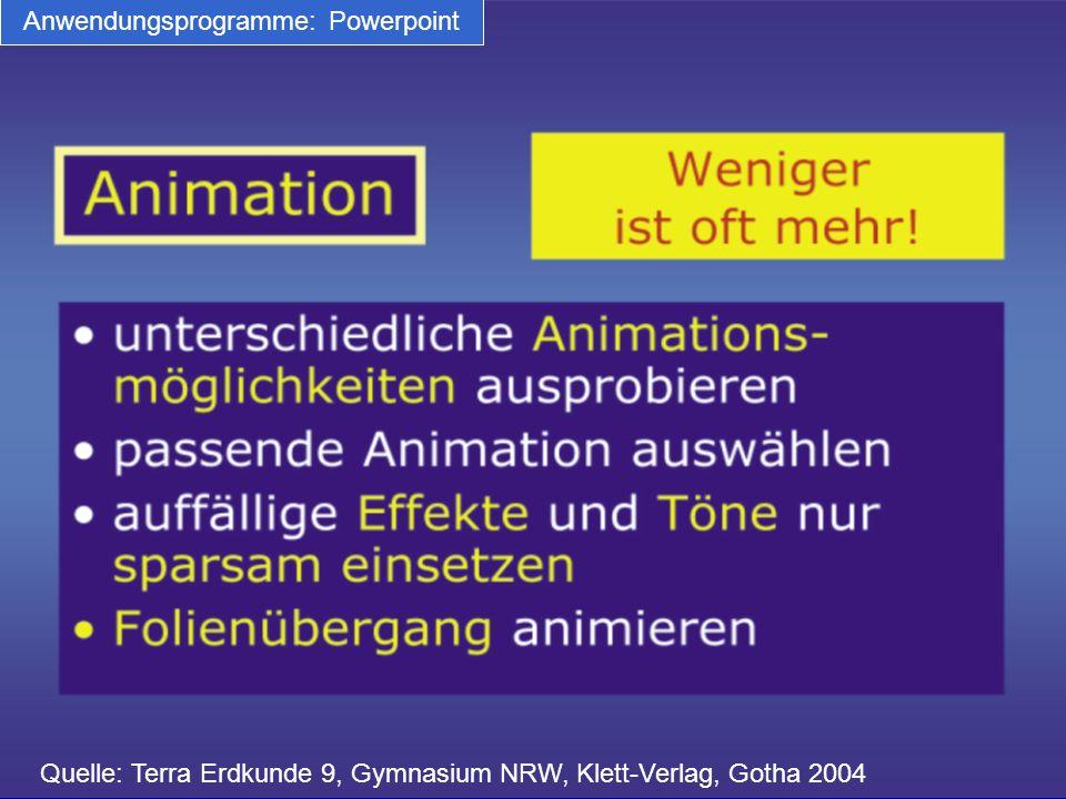 Quelle: Terra Erdkunde 9, Gymnasium NRW, Klett-Verlag, Gotha 2004 Anwendungsprogramme: Powerpoint