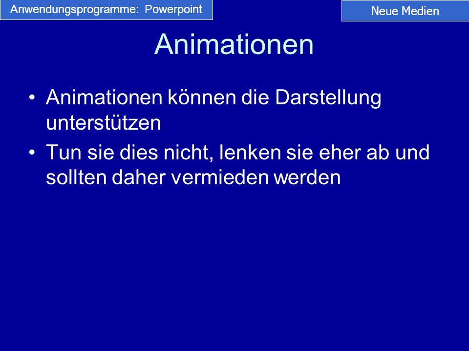 Animationen Animationen können die Darstellung unterstützen Tun sie dies nicht, lenken sie eher ab und sollten daher vermieden werden Neue Medien Anwe