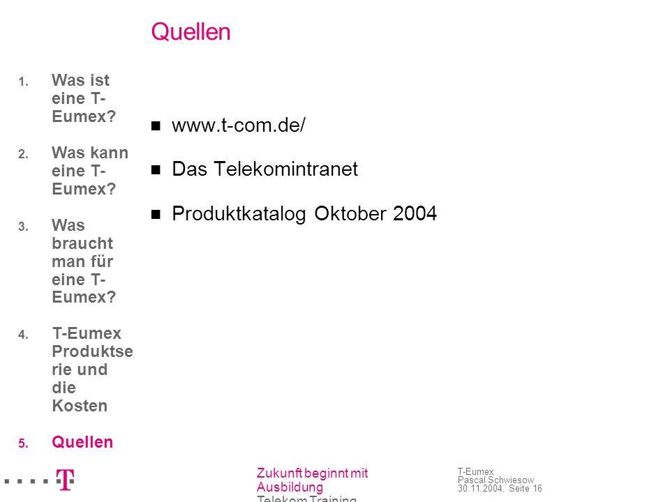 Zukunft beginnt mit Ausbildung Telekom Training T-Eumex Pascal Schwiesow 30.11.2004, Seite 16 Quellen www.t-com.de/ Das Telekomintranet Produktkatalog