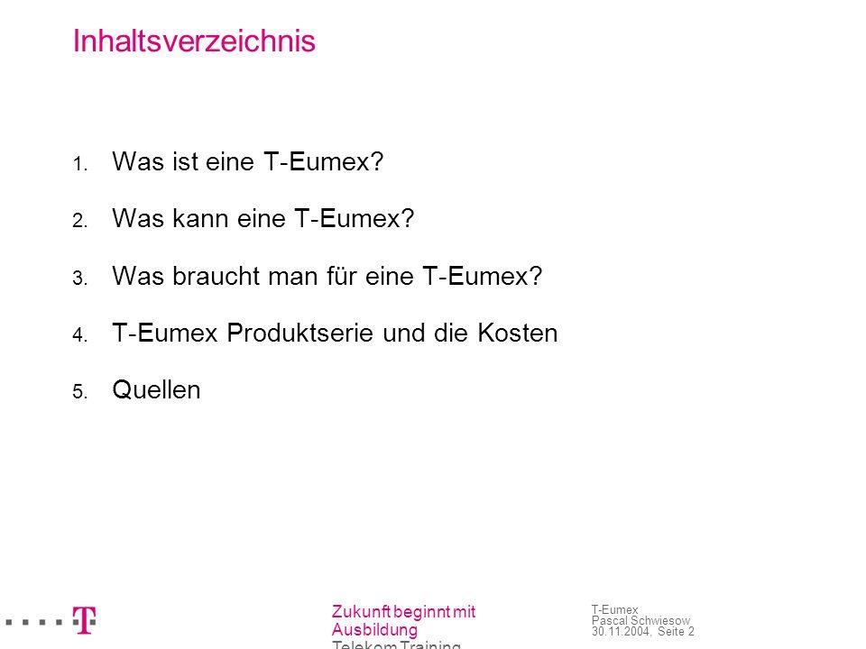 Zukunft beginnt mit Ausbildung Telekom Training T-Eumex Pascal Schwiesow 30.11.2004, Seite 2 Inhaltsverzeichnis Was ist eine T-Eumex? Was kann eine T-