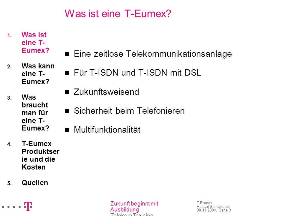 Zukunft beginnt mit Ausbildung Telekom Training T-Eumex Pascal Schwiesow 30.11.2004, Seite 3 Was ist eine T-Eumex? Eine zeitlose Telekommunikationsanl