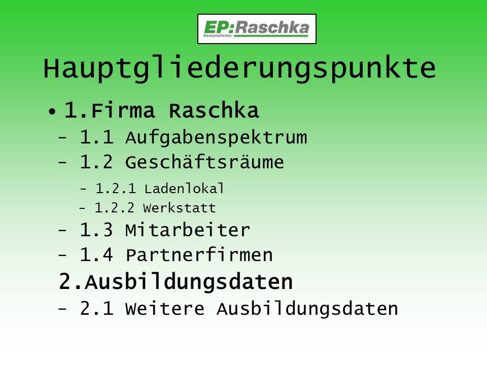 Hauptgliederungspunkte 1.Firma Raschka - 1.1 Aufgabenspektrum - 1.2 Geschäftsräume - 1.2.1 Ladenlokal - 1.2.2 Werkstatt - 1.3 Mitarbeiter - 1.4 Partne