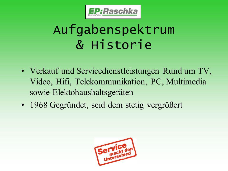 Aufgabenspektrum & Historie Verkauf und Servicedienstleistungen Rund um TV, Video, Hifi, Telekommunikation, PC, Multimedia sowie Elektohaushaltsgeräte