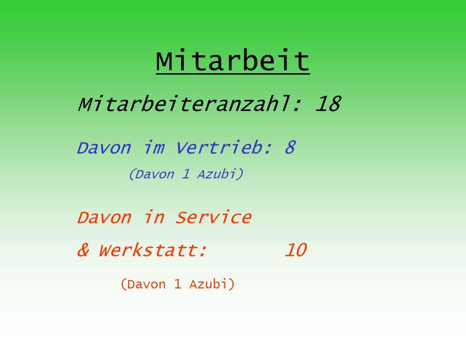 Mitarbeit Mitarbeiteranzahl: 18 Davon im Vertrieb: 8 (Davon 1 Azubi) Davon in Service & Werkstatt: 10 (Davon 1 Azubi)