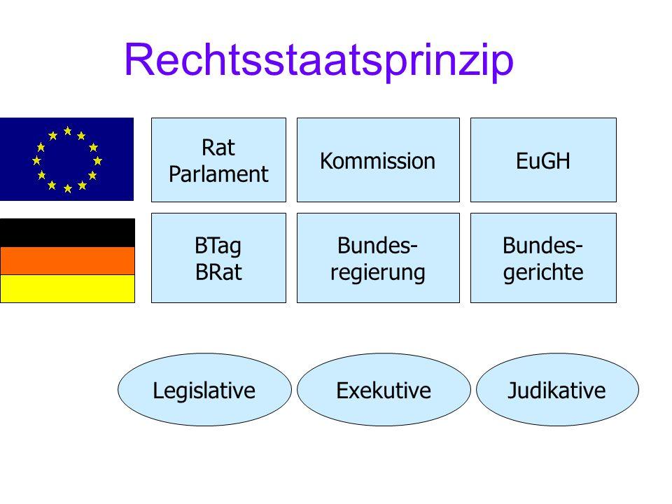 Rechtsstaatsprinzip LegislativeExekutiveJudikative BTag BRat Bundes- regierung Bundes- gerichte Rat Parlament KommissionEuGH