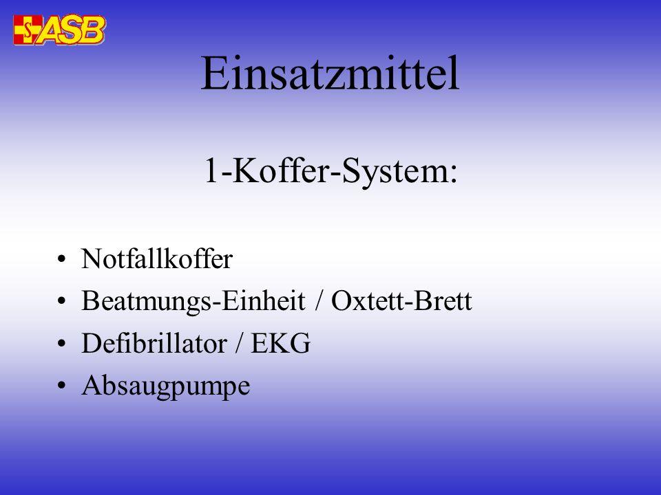 Einsatzmittel 1-Koffer-System: Notfallkoffer Beatmungs-Einheit / Oxtett-Brett Defibrillator / EKG Absaugpumpe