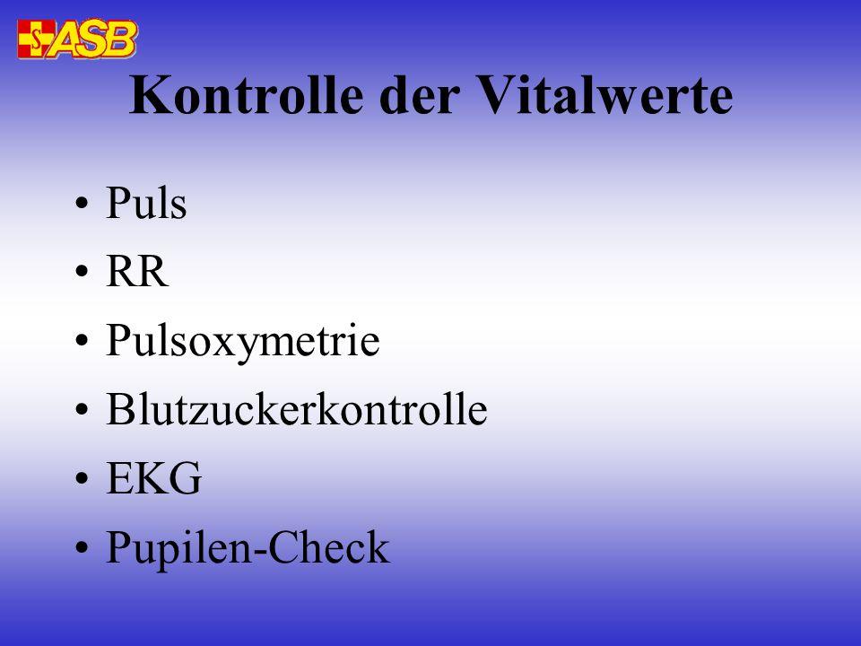Kontrolle der Vitalwerte Puls RR Pulsoxymetrie Blutzuckerkontrolle EKG Pupilen-Check