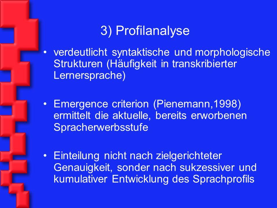 3) Profilanalyse verdeutlicht syntaktische und morphologische Strukturen (Häufigkeit in transkribierter Lernersprache) Emergence criterion (Pienemann,