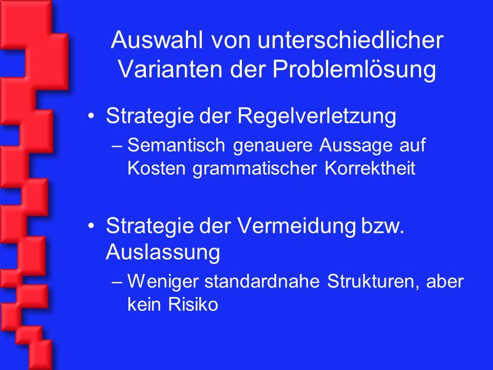 Auswahl von unterschiedlicher Varianten der Problemlösung Strategie der Regelverletzung –Semantisch genauere Aussage auf Kosten grammatischer Korrekth