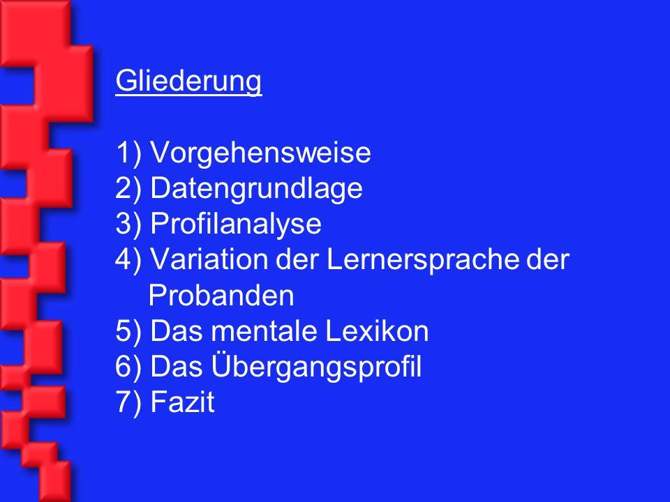 Gliederung 1) Vorgehensweise 2) Datengrundlage 3) Profilanalyse 4) Variation der Lernersprache der Probanden 5) Das mentale Lexikon 6) Das Übergangspr