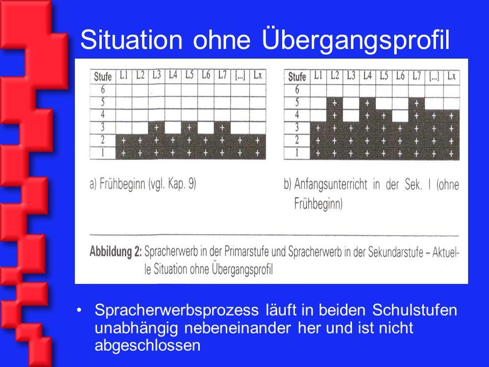 Situation ohne Übergangsprofil Spracherwerbsprozess läuft in beiden Schulstufen unabhängig nebeneinander her und ist nicht abgeschlossen