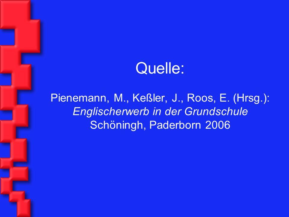 Quelle: Pienemann, M., Keßler, J., Roos, E. (Hrsg.): Englischerwerb in der Grundschule Schöningh, Paderborn 2006
