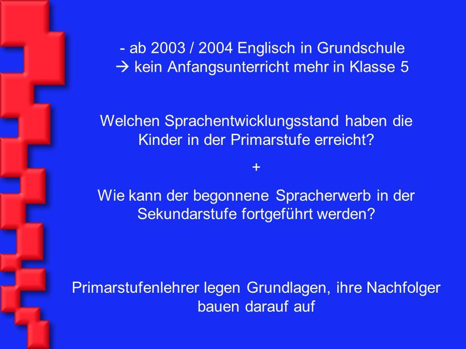 - ab 2003 / 2004 Englisch in Grundschule kein Anfangsunterricht mehr in Klasse 5 Welchen Sprachentwicklungsstand haben die Kinder in der Primarstufe e