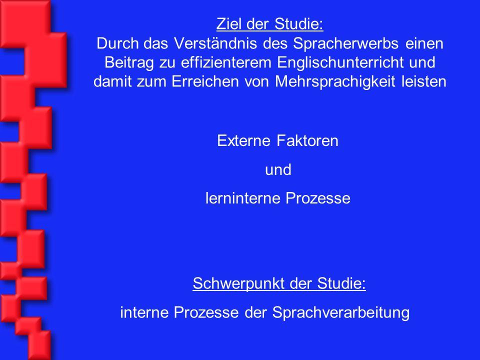 Ziel der Studie: Durch das Verständnis des Spracherwerbs einen Beitrag zu effizienterem Englischunterricht und damit zum Erreichen von Mehrsprachigkei