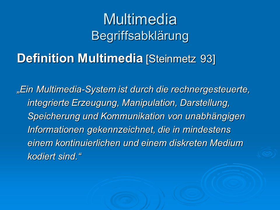 Multimedia Begriffsabklärung Definition Multimedia [Steinmetz 93] Ein Multimedia-System ist durch die rechnergesteuerte, integrierte Erzeugung, Manipu