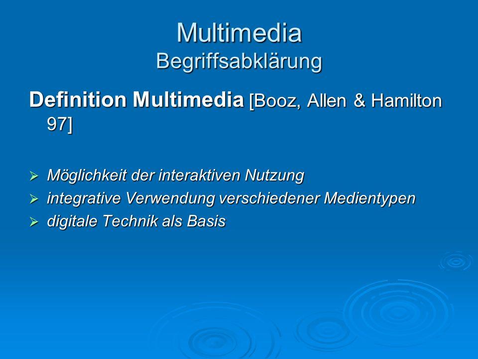Multimedia Begriffsabklärung Definition Multimedia [Booz, Allen & Hamilton 97] Möglichkeit der interaktiven Nutzung Möglichkeit der interaktiven Nutzu