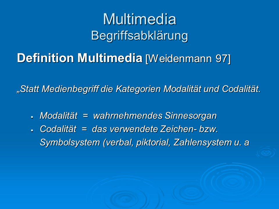 Multimedia Begriffsabklärung Definition Multimedia [Weidenmann 97] Statt Medienbegriff die Kategorien Modalität und Codalität. Modalität = wahrnehmend