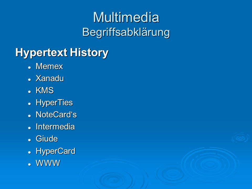 Multimedia Begriffsabklärung Hypertext History Memex Memex Xanadu Xanadu KMS KMS HyperTies HyperTies NoteCards NoteCards Intermedia Intermedia Giude G