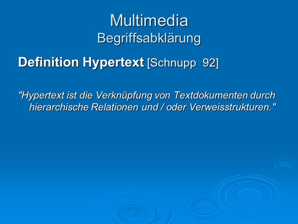 Multimedia Begriffsabklärung Definition Hypertext [Schnupp 92]