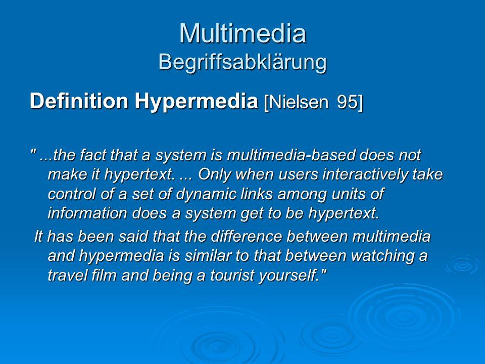 Multimedia Begriffsabklärung Definition Hypermedia [Nielsen 95]