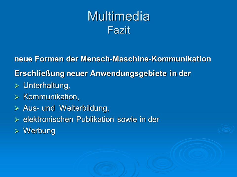 Multimedia Fazit neue Formen der Mensch-Maschine-Kommunikation Erschließung neuer Anwendungsgebiete in der Unterhaltung, Unterhaltung, Kommunikation,