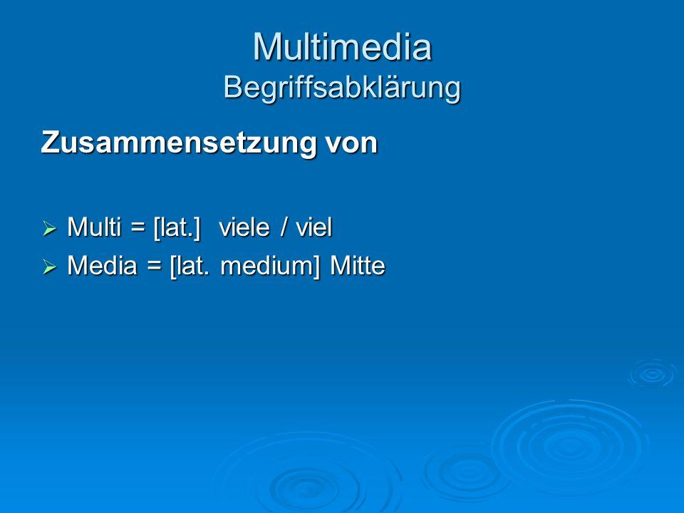 Multimedia Begriffsabklärung Zusammenfassende Definition Multimedia Digitalisierung, Digitalisierung, computerbasierte Integration, computerbasierte Integration, multimodale und multicodale Präsentation sowie multimodale und multicodale Präsentation sowie anwendergesteuerte (interaktive) Nutzung der verwendeten Informationen.