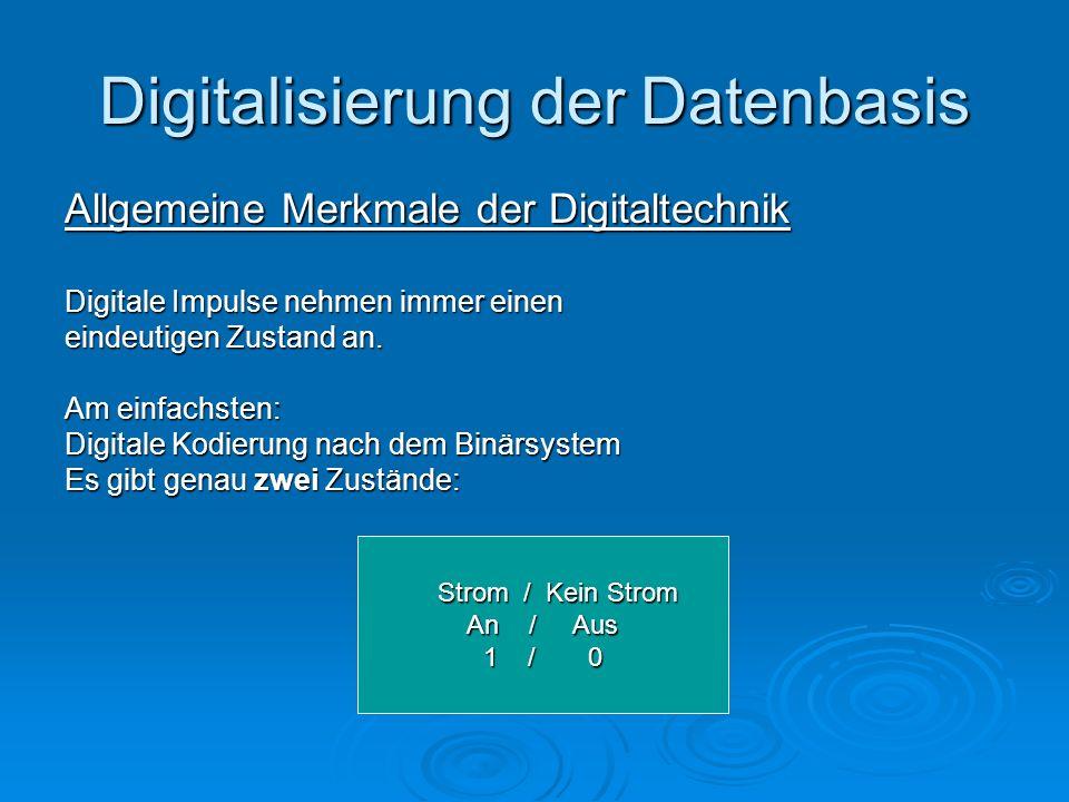 Digitalisierung der Datenbasis Allgemeine Merkmale der Digitaltechnik Digitale Impulse nehmen immer einen eindeutigen Zustand an. Am einfachsten: Digi
