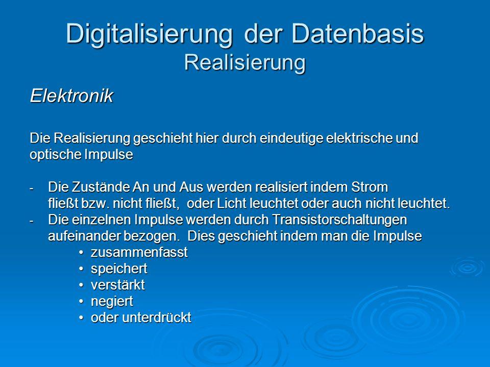 Digitalisierung der Datenbasis Realisierung Elektronik Die Realisierung geschieht hier durch eindeutige elektrische und optische Impulse - Die Zuständ