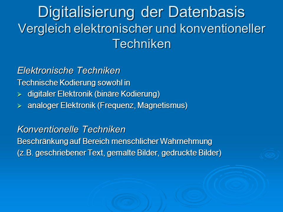 Elektronische Techniken Technische Kodierung sowohl in digitaler Elektronik (binäre Kodierung) digitaler Elektronik (binäre Kodierung) analoger Elektr