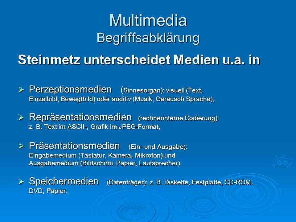 Multimedia Begriffsabklärung Steinmetz unterscheidet Medien u.a. in Perzeptionsmedien ( Sinnesorgan): visuell (Text, Perzeptionsmedien ( Sinnesorgan):