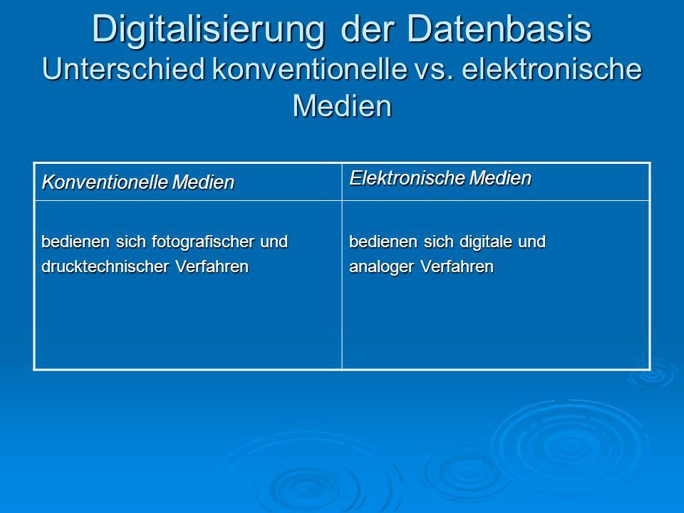 Digitalisierung der Datenbasis Unterschied konventionelle vs. elektronische Medien Konventionelle Medien Elektronische Medien bedienen sich fotografis