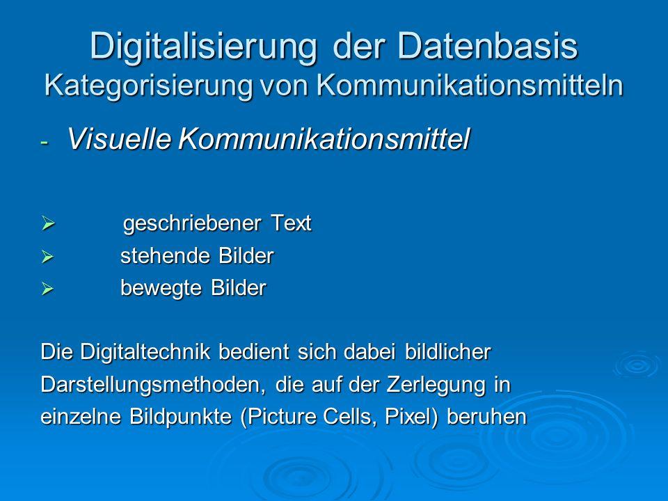 Digitalisierung der Datenbasis Kategorisierung von Kommunikationsmitteln - Visuelle Kommunikationsmittel geschriebener Text geschriebener Text stehend