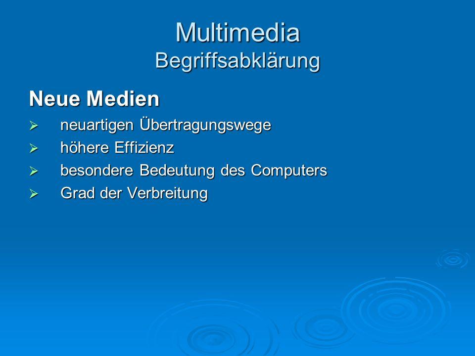 Multimedia Begriffsabklärung Neue Medien neuartigen Übertragungswege neuartigen Übertragungswege höhere Effizienz höhere Effizienz besondere Bedeutung