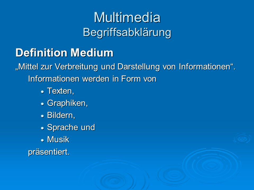 Multimedia Begriffsabklärung Definition Medium Mittel zur Verbreitung und Darstellung von Informationen. Informationen werden in Form von Texten, Text
