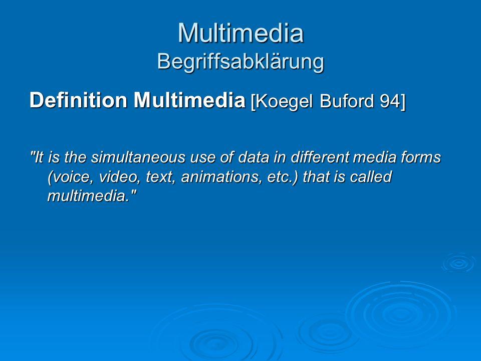 Multimedia Begriffsabklärung Definition Multimedia [Negroponte 95] Die Mischung von Audio, Video und Daten wird Multimedia genannt: der Begriff klingt kompliziert, beschreibt aber im Grunde nichts als gemischte Bits.