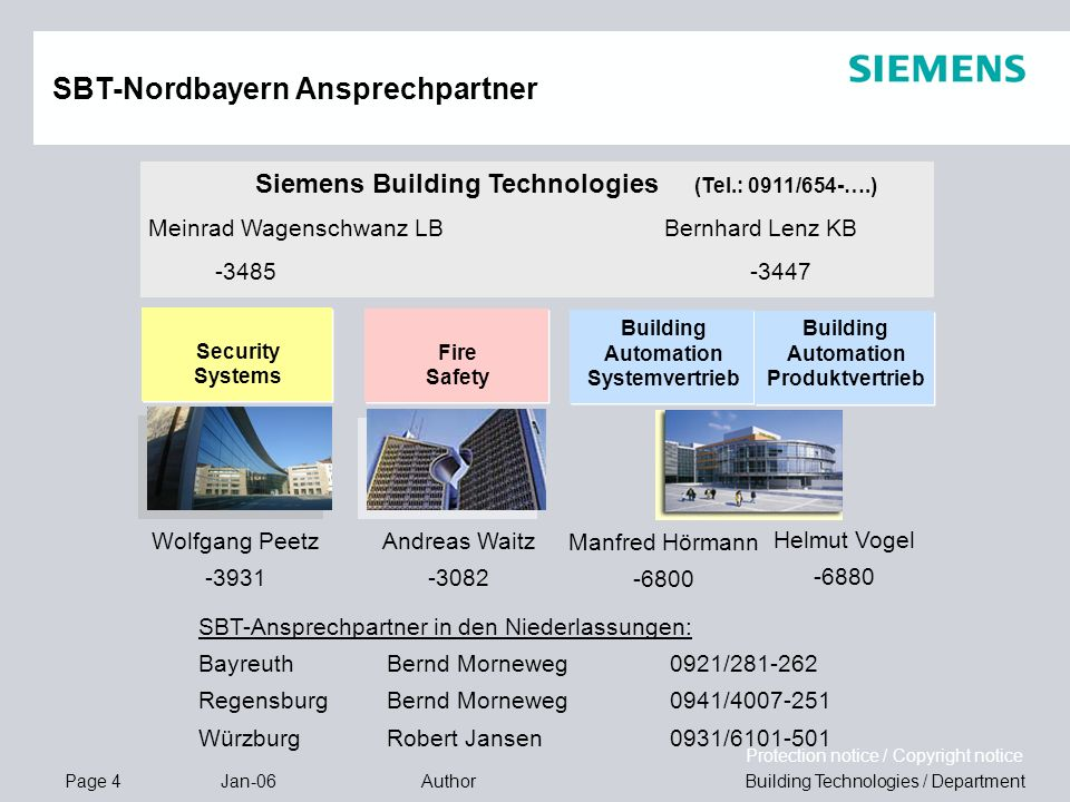 Page 4 Jan-06 Building Technologies / DepartmentAuthor Protection notice / Copyright notice SBT-Nordbayern Ansprechpartner Fire Safety Security System