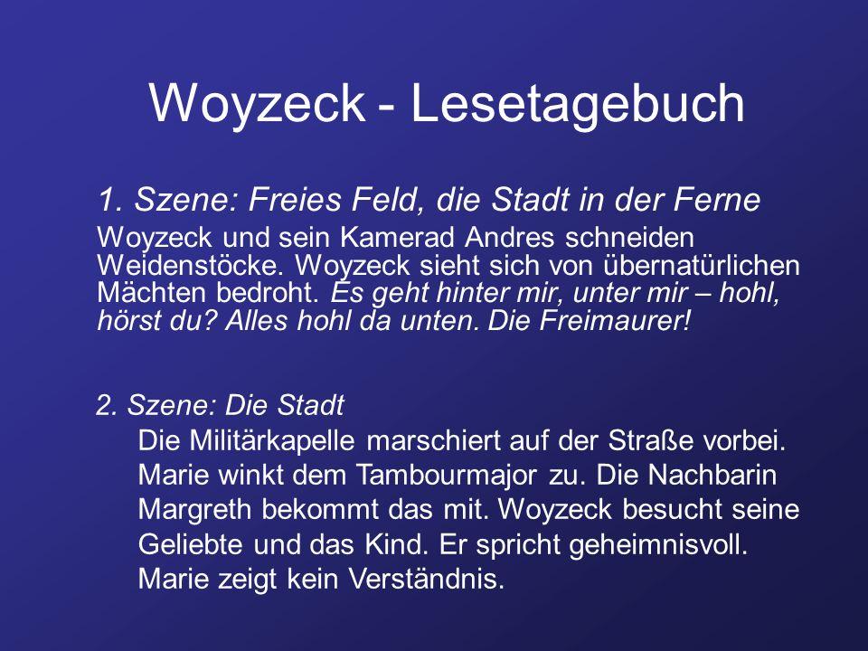 Woyzeck - Lesetagebuch 1. Szene: Freies Feld, die Stadt in der Ferne Woyzeck und sein Kamerad Andres schneiden Weidenstöcke. Woyzeck sieht sich von üb
