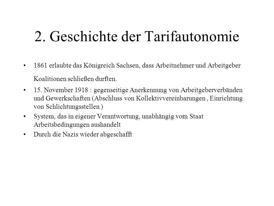 2. Geschichte der Tarifautonomie 1861 erlaubte das Königreich Sachsen, dass Arbeitnehmer und Arbeitgeber Koalitionen schließen durften. 15. November 1