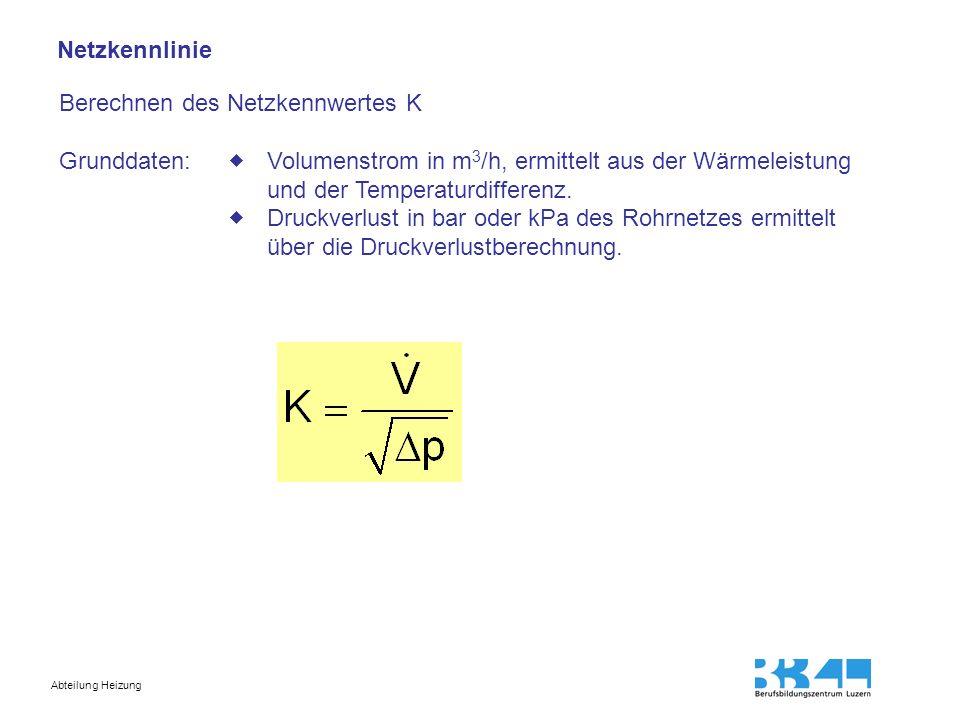 Abteilung Heizung Netzkennlinie Berechnen des Netzkennwertes K Grunddaten: Volumenstrom in m 3 /h, ermittelt aus der Wärmeleistung und der Temperaturd