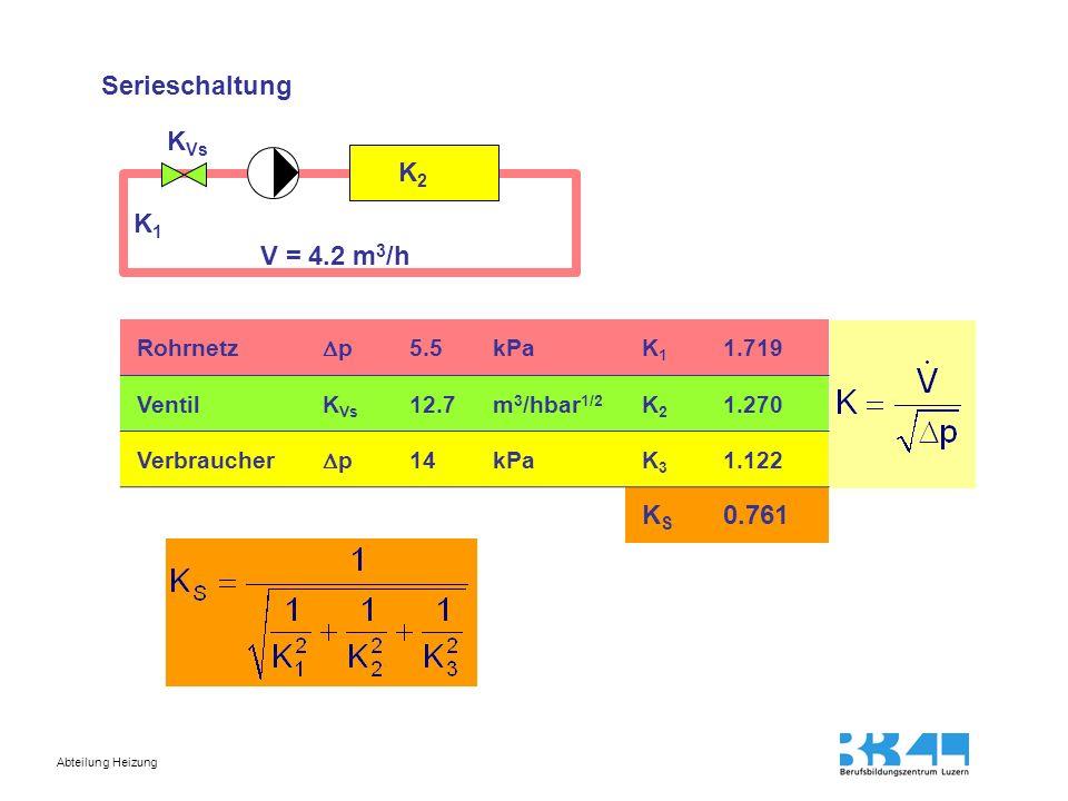 Abteilung Heizung Serieschaltung Rohrnetz p 5.5kPaK1K1 1.719 VentilK Vs 12.7m 3 /hbar 1/2 K2K2 1.270 Verbraucher p 14kPaK3K3 1.122 KSKS 0.761 K1K1 K2K