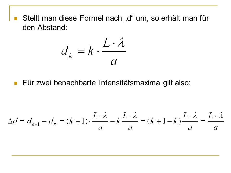 Stellt man diese Formel nach d um, so erhält man für den Abstand: Für zwei benachbarte Intensitätsmaxima gilt also: